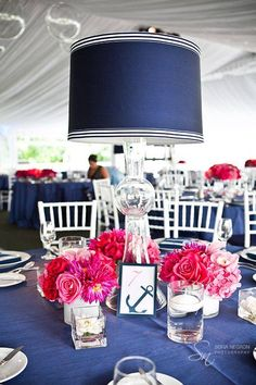 Custom Upholstered Lamp Centerpiece Design by Lindsay Landman Events, Floral by Renaissance Floral Design. Not so into the nautical theme here, but we loooooove navy blue. Nautical Wedding Centerpieces, Nautical Wedding Theme, Beach Wedding Favors, Wedding Table, Wedding Decorations, Table Decorations, Centerpiece Ideas, Nautical Party, Wedding Candelabra
