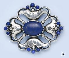 Georg Jensen brooch, lapis lazuli and sterling silver,  ca. 1920s - 1930s