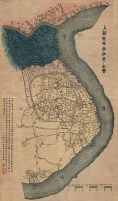 "Antique Map of Shanghai, China (1884) - 37.4""x22"" - Archival Print. $63.00, via Etsy."