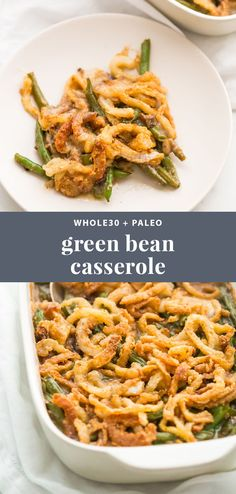 This Whole30 green bean casserole is just like the classic Thanksgiving dish: tender green beans in a rich cream of mushroom sauce, topped with fried onion straws. This Whole30 green bean casserole (also a paleo green bean casserole, of course!) is an absolute must for the Whole30 Thanksgiving table. And to be honest, this paleo green bean casserole tastes even better than the classic version! #whole30 #sidedish