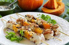 Shish kebab from Turkey and pumpkin. Shish Kebab, Barbecue, Shrimp, Turkey, Healthy Recipes, Healthy Food, Pumpkin, Chicken, Meat