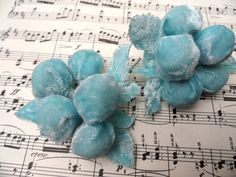 Velvet ball flower sprays - Two cute vintage millinery flowers in blue velvet. grapes.