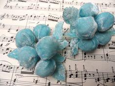 Velvet ball flower sprays - Two cute vintage millinery flowers in blue velvet. grapes.