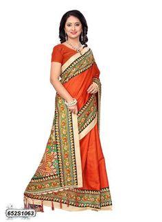 Orange  Color Bhagalpuri Silk Saree - 652S1063  #sarees #sari #look #looking #popular #offers #design #collection #offers #new #trendy #design #fashion #zinngafashion #nice #design