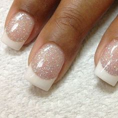 Sparkly French Wedding Nail Idea