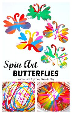 Spin Art Butterfly Art for Preschool - Learning and Exploring Through Play Source by cmarashian Eyfs Activities, Art Activities For Kids, Art For Kids, Crafts For Kids, Process Art Preschool, Preschool Art, Preschool Learning, Teaching, Butterfly Art