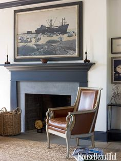 Above the mantel in a master bedroom is a painting by Edi Hila. Design: Brian McCarthy.
