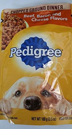 4-Pedigree Chopped Ground Dinner Beef,Bacon and Cheese Flavors (3.5 oz Each) * Check this awesome product by going to the link at the image. (This is an affiliate link and I receive a commission for the sales)