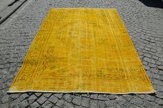 YELLOW and ORANGE Oushak Rug, Turkish Handmade Overdyed Carpet, Vintage Yellow Oushak Rug  Size (263 cm x 201 cm)  8,6 ft x 6,8 ft model:745 by OushakRugs on Etsy