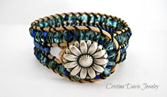 Beaded Leather Cuff Triple Row Beaded by CristinaDavisJewelry, $42.50