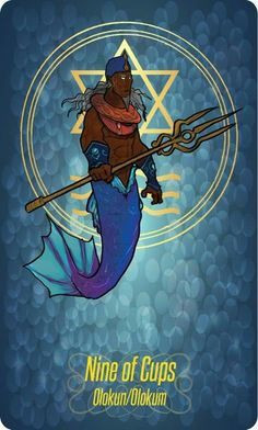 Olokun - No Benin é considerado como do sexo masculino e em Ifé como sendo do sexo feminino, divindade do mar. Depois dos Oceanos. Olokun é o Orixá Senhor do mar, é andrógino, metade homem e metade-peixe, de caráter compulsivo, misterioso e violento African Mythology, Yoruba Religion, Black Anime Characters, Traditional Stories, Online Tarot, Black Mermaid, Orisha, Afro Art, Archetypes