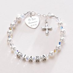 2016 Commemorative First Communion Name Bracelet for Girl - Daughter Granddaughter Goddaughter Niece Sister - First Holy Communion Gifts for girls -