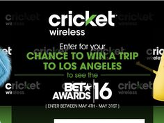 Enter The Cricket/BET 2016 Sweepstakes for a chance to win a 4-day/3-night trip for two to Los Angeles, CA!