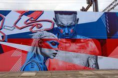 Wall paints, Muurschilderingen, Peintures Murales,Trompe-l'oeil, Graffiti, Murals, Street art.: Eindhoven - Netherlands (Die Antwoord) artist  - Belin, Zenk, Nas & Studio Giftig