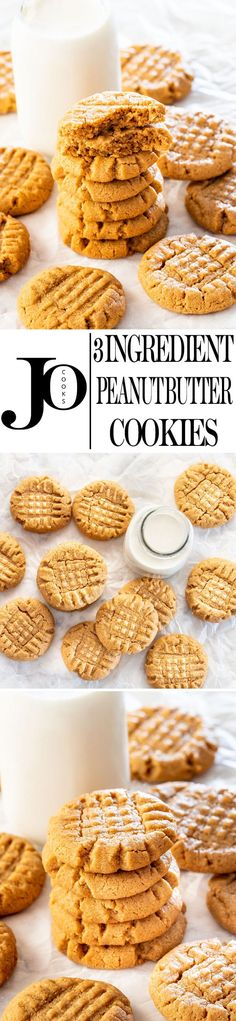 These 3 Ingredient Peanut Butter Cookies are probably the easiest, softest, and most delicious cookies you could make. And yes, they only require 3 ingredients, and are gluten free. Soft, chewy, and simply the best peanut butter cookies! #3ingredientpeanutbuttercookies #peanutbuttercookies #3ingredients