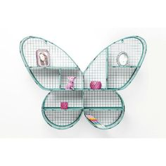 Ραφιέρα Τοίχου Butterfly Η γλυκιά και παιχνιδιάρική φιγούρα μιας πεταλούδας που έγινε ραφιέρα τοίχου, από μέταλλο με ηλεκτροστατική βαφή σε γαλάζιο χρώμα. Kare Design, Tennis Racket, Girls, Child Room, Wall Shelves, Toddler Girls, Daughters, Maids