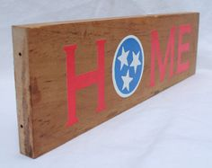 "Reclaimed Wood ""Home"" with Tennessee TriStar Flag emblem on Etsy, $20.00"
