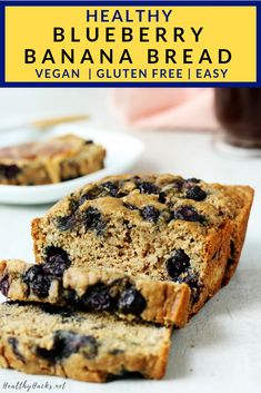 This easy and healthy recipe for Healthy Blueberry Banana Bread is perfect for Gluten Free Bread & Muffins Blueberry Banana Bread, Easy Banana Bread, Healthy Banana Bread, Chocolate Chip Banana Bread, Healthy Fruit Desserts, Vegan Sweets, Vegan Snacks, Vegan Food