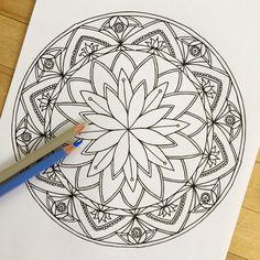 "Mandala ""Lotus"" - Hand Drawn Adult Coloring Page Print"