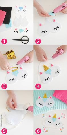 No-Sew DIY Unicorn Sleeping Masks with Free Template - learn to craft these cute. - Diy Projects - - No-Sew DIY Unicorn Sleeping Masks with Free Template - learn to craft these cute. Cute Diys, Cute Crafts, Easy Crafts, Diy And Crafts, Crafts For Kids, Arts And Crafts, No Sew Crafts, Decor Crafts, Diy Gifts For Kids