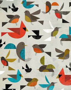 illustration, animal, bird, robin, bluejay, cardinal, hummingbird, pattern, design, naive. Charlie Harper ??