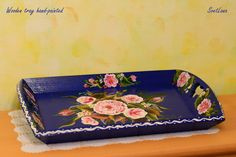 Decorative wooden tray hand-painted with acrylic and varnished with gloss. Sea Flowers, Mixed Media Painting, Decorative Objects, Painting & Drawing, Framed Art, Hand Painted, Glass, Artwork, Tray