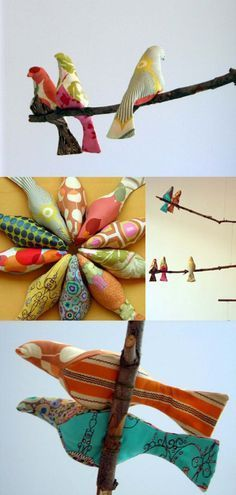 How cute are these, tutorial to make fabric birds! Would look perfect perched on top of a branch used as a curtain rod.
