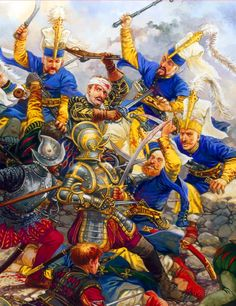 Ottoman Janissaries charging against the Knights of St John's fortification at  St Elmo, Siege of Malta