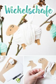 Wrapping sheep: make Easter decorations - Sheep Dko for the Easter bouquet. Informations About Wickelschafe: Osterschmuck basteln Pin You can - Kids Crafts, Easter Crafts, Diy And Crafts, Creative Crafts, Diy Gifts For Christmas, Diy Gifts For Kids, Happy Easter, Sheep, Creations