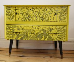Mid Century Retro Chest of Drawers, lovingly restored and finished off with a coat of zesty lime green and an illustrative motif that has been hand drawn on the drawer fronts. A truly off unique piece! From UK seller HandsomeVintage on Etsy.