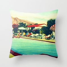 Hotel Pillow Cover, Mid Century Modern Pillow Cover, Beach Lover, Gift For Her ,MCM Swimming Pool Art, Decorative throw pillow, Beach Decor