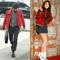 Who Wore It Better?!  G-Dragon X Sandara Park  awww they both look like a couple to me. Can't decideee   #WhoWoreItBetter #gd #sandara #ygfamily #kpop