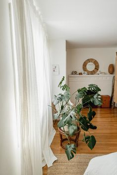 Cozy Neutral Bedroom — Miss Jess Craven Neutral Bedrooms, Attic Bedrooms, Master Bedroom, Ikea Headboard, Natural Oak Flooring, Small Office Desk, Rattan Basket, Pendant Light Fixtures, Geometric Wall