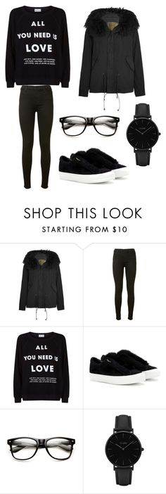 """BLACK❤❤"" by alexandra2004 ❤ liked on Polyvore featuring Mr & Mrs Italy, J Brand, Wildfox, Salvatore Ferragamo and CLUSE"