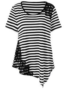 Plus Size Striped Lace Applique T-Shirt in Stripe | Sammydress.com