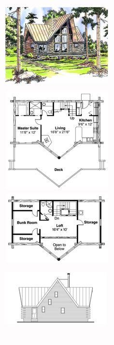 House Plan 69356 - Contemporary, Log Style House Plan with 1216 Sq Ft, 2 Bed, 2 Bath Log Cabin Floor Plans, Log Home Plans, Cabin House Plans, Craftsman House Plans, Dream House Plans, Modern House Plans, Small House Plans, House Floor Plans, Home Building Tips