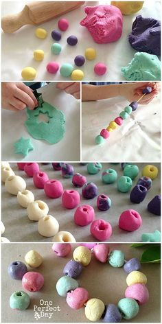 Kid-made jewelry made with salt dough beads. This would be a great last minute gift for kids to make. I really love the necklace idea.