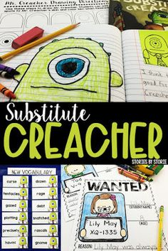 Substitute Creacher by Chris Gall is an entertaining picture book to read near Halloween or to accompany a review of classroom rules and expectations. This picture book companion is filled with comprehension activities, vocabulary practice, a directed drawing, and writing prompts.