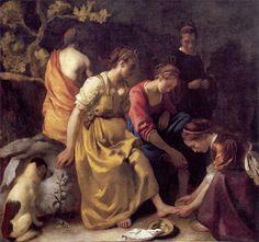 DIANA AND HER COMPANIONS  by Johannes Vanmeer  (Diana en haar Nimfen)    c. 1653-1656  oil on canvas  38 3/4 x 41 3/8 in. (98.5 x 105 cm.)  Koninklijk Kabinet van Schilderijen Mauritshuis Mauritshuis,  The Hague