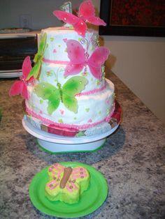 1st birthday cake, butterflies
