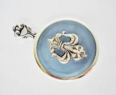 Sterling Silver Blue Matte Enamel Hand Purse Vanity Mirror, Fleur De Lis Applique, R Blackinton & Co, Fully Signed / Hallmarked ~ Unique!