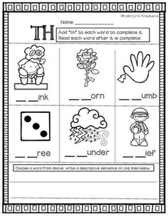 Th Blends: Fill In The Blank by Kathryn's Kreations | Teachers Pay Teachers
