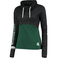 Women's Colosseum Black/Green Michigan State Spartans Scaled Cowl Neck Pullover…