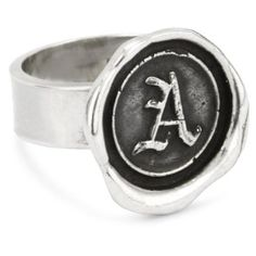 Pyrrha Wax Seals Sterling Silver Initial A Ring Wax Seals, Initials, Rings For Men, Man Jewelry, Silver Rings, Fancy, Sterling Silver, Bags, Accessories