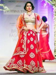 Shruti Agarwal walks the ramp for designer Jyotsna Tiwari during India Bridal Fashion Week '13, held at Grand Hyatt, in Mumbai, on November 29, 2013.