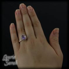 Amethyst and Diamond Double Halo Ring with Diamond Wedding Band LS1635
