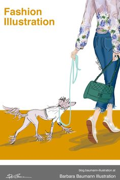 Digital fashion illustration of a young fashionable woman walking with her bag and her little dog in colorful spring summer outfit clothes like on a catwalk to show her new espadrilles shoes. The drawing of the stylish girl is done digitally on the graphic tablet with a separate layer for the draft to define the basic human female body proportions with abstract shapes of the dynamic pose or gesture. Learn how to draw a human figure step by step for beginners in my tutorials on the sketchbook Paul Green, Fashion Illustrations, Fashion Sketches, Stylish Girl, Stylish Outfits, Illustrator, Human Drawing, Body Proportions, Illustration Mode