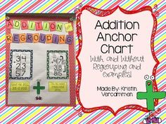 """Are your students starting to learn about addition with and without regrouping? If yes, then this anchor chart will help them tremendously! It provides two examples, one without regrouping and one with regrouping. It also shows the saying """"9 or less, let it rest"""" and """"ten or"""