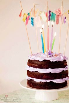 Happy Birthday Cake no frosting purple candles Rustic Birthday Cake, Happy Birthday Cakes, Birthday Kids, Birthday Cake Gif, Third Birthday, Birthday Candles, Pretty Cakes, Beautiful Cakes, Amazing Cakes