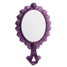 """Anna Sui - Served with mounds of whipped cream and strawberries on top, this limited edition translucent purple mirror has been modeled after the most decadent cake! Indulge in the sweet feeling of your most captivating reflection.  Approximate size: 6.1""""h x 3.7""""w; Mirror is 2.7""""h x 2.4""""w. Made of Resin."""